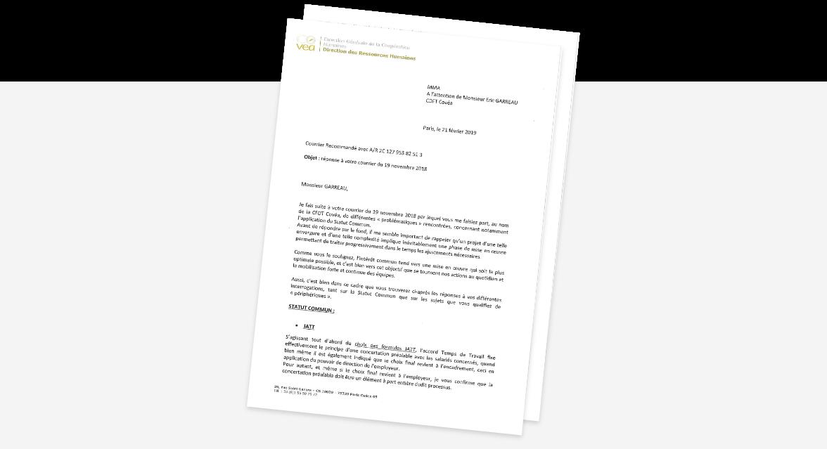 Courrier de réponse de Jacques FEYTIS à notre A/R du 19 novembre 2019